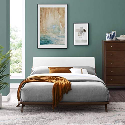 Modway Luella Mid-Century Modern Upholstered Fabric Queen Sled Platform Bed Frame With Headboard In Cappuccino White