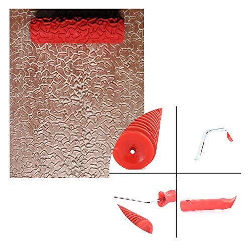 DRON TOOON 17,8 cm Prägewalze Malerpinsel Kunststoffgriff DIY Roller Kunst Pinsel Gummi Holz Maserung Wand Prägewerkzeug für Home Office DTYS-0074