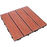 Hemoton Interlocking Patio Deck Tiles Wood Plastic Composite Decking Tiles for Both Indoor Outdoor Golden Shower Balcony Backyard Hardwood Boards 29. 5X29. 5CM Red