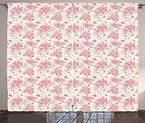 ABAKUHAUS Primavera Cortinas, Flores de la Acuarela de Color Rosado, Sala de Estar Dormitorio Cortinas Ventana Set de Dos Paños, 280 x 260 cm, Rosa melocotón y Crema