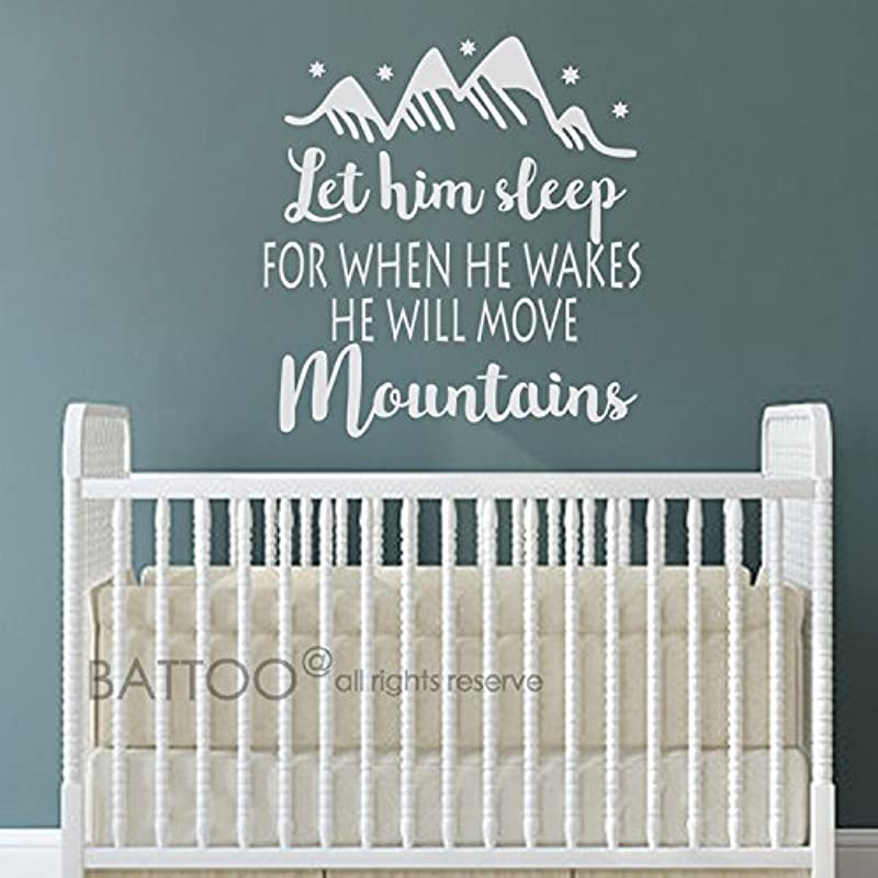 BATTOO Let Him Sleep For When He Wakes He Will Move Mountains Nursery Wall Decal Sayings Baby Boy Nursery Decor Wall Art Wall Decal Kids White 28 5 WX30 H