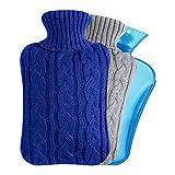Segorts - Bottiglia dell'acqua calda per letto a vita calda, con rivestimento in lana, 2 l, in PVC, per schiena, collo, gambe