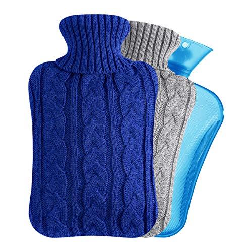Easycosy Wärmflasche mit Bezug mit Strickabdeckung 2 Liter Warmwasser Tasche Groß Bettflasche Kuschel für Nacken Schulter Bauch Wärme Weihnachten Geschenk für Freundin Mutter Vater Blau 33x 20cm