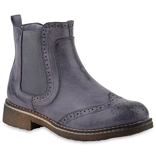 stiefelparadies Damen Stiefeletten Chelsea Boots Leicht Gefütterte Booties Leder-Optik Schuhe Profilsohle Wingtip 145836 Blau Cabanas 36 Flandell