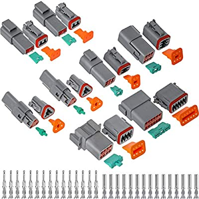 8 Sets Electrical Wire Connector Gray Waterproof Electrical Wire Connectors 2 3 4 6 8 12 Pin Sealed Auto 22-16 AWG Connectors for Motorcycle, Scooter, Car, Truck, Boats