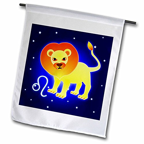 3dRose FL_28561_1 Cute Astrology Leo Zodiac Sign Lion Garden Flag, 12 by 18-Inch
