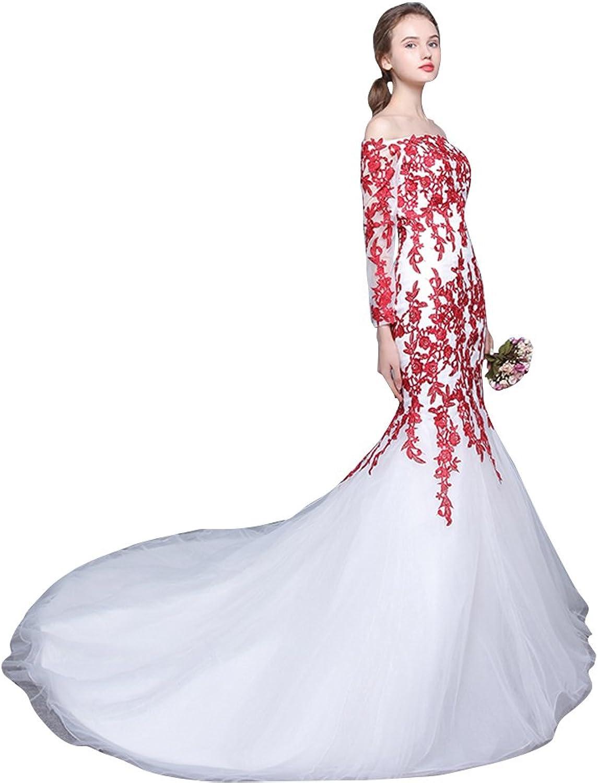 BeautyEmily White Long Sleeve Lace Boat Neck Chaple Train Wedding Dress