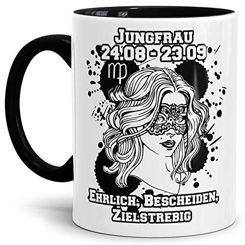 Tassendruck Sternzeichen-Tasse Jungfrau - Innen & Henkel Schwarz - Geburtstag/Astronomie/Sternen-Bilder/mit Spruch/Witzig/Kaffeetasse/Mug/Cup - Qualität Made in Germany