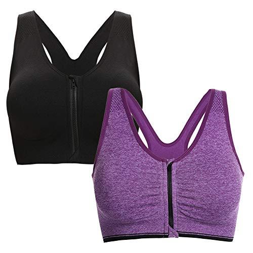 Aibrou Damen Sport BH Yoga Bra Push Up BH Starker Halt Bustier für Fitness Training BH mit Reißverschluss 2er Pack L