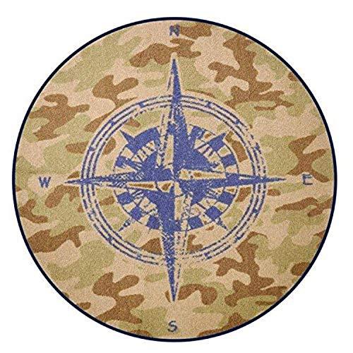 "Heritage Kids Round Compass Navigation Accent Rug, 20"" x 20"", Camo"