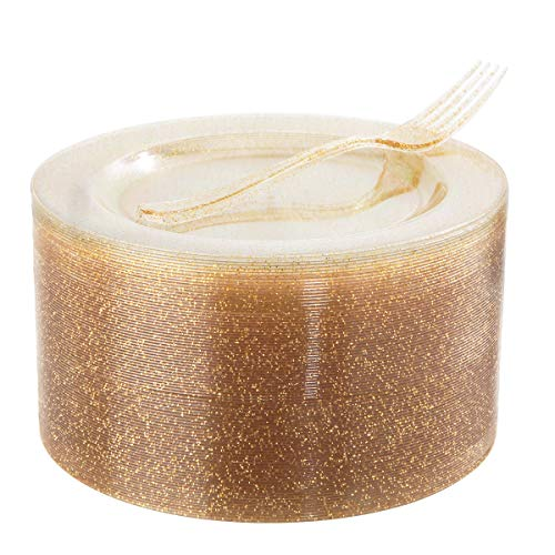 "72 Pieces Plastic Dessert Plates 7.5"" & 72 Pieces Gold Disposable Forks 7.4"" with Gold Glitter, Gold Disposable Plates, Plastic Salad Plates for Wedding"