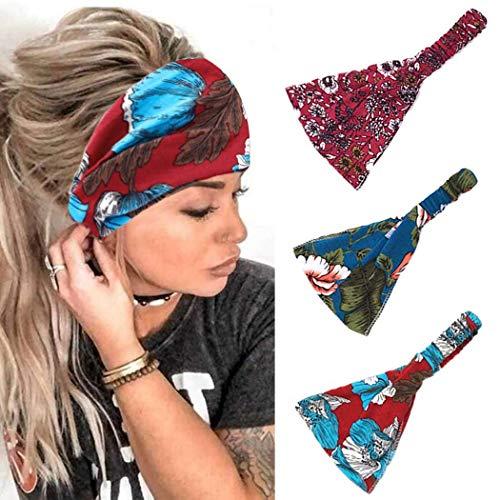 Fashband Wide Bobo Headbands 3 PCs Flower Printing Headwear Banda para el cabello con estampado de leopardo Hairbands de moda Running Yoga Fitness Hippie Turbante para mujeres y niñas