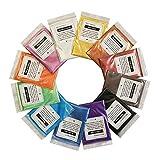 VITORY Pigment énorme mica en poudre powder set effet métallique pour résine époxy - fabrication de savon kit (12 couleurs / 10g) - fournitures oz slime Rose