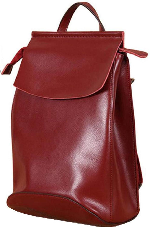 Ladies Leather Genuine Leather Leather 3 Way Back Fashionable Shoulder Bag Women's Backpack Commuter Commuting Waterproof Handbag Bag (color   Red, Size   M)