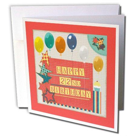 3drose 22 nd Birthday, ballonnen, cupcake, sterren, blokletter, oranje, groen - wenskaarten, 15,2 x 15,2 cm set van 6 (GC 240777 1)