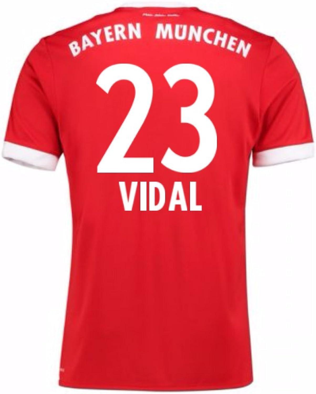 2017-18 Bayern Munich Home Short Sleeve Shirt (Vidal 23)