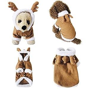 Mogoko Chien Chat Costume de Père Noël, Renne pour Animal Domestique Cosplay Costumes, Sweat à Capuche, Chiots, Polaire Chaud Outfit Apparel Festival de vêtements