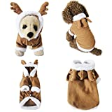 Mogokoyo Dog Cat Christmas Reindeer Costume, Funny Pet Elk Costumes Cosplay Dress, Puppy Fleece Outfits Warm Hoodie Animal Festival Apparel Clothes (