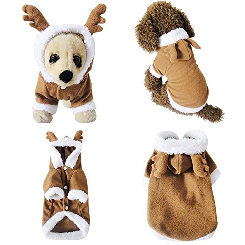 Mogoko Dog Cat Christmas Reindeer Costume, Funny Pet Elk Costumes Cosplay Dress, Puppy Fleece Outfits Warm Hoodie Animal Festival Apparel Clothes (L Size)