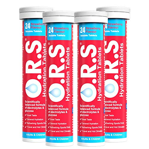 O.R.S Hydration Tablets with Electrolytes, Vegan, Gluten and Lactose Free Formula – Natural Strawberry Flavour, 96 Tablets (Pack of 4 x 24)