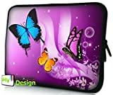 MySleeveDesign Laptoptasche Notebooktasche Sleeve für 10,2 Zoll / 11,6-12,1 Zoll / 13,3 Zoll / 14 Zoll / 15,6 Zoll / 17,3 Zoll - Neopren Schutzhülle mit VERSCH. Designs - Butterfly Purple [10]