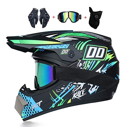 Caschi da Motocross e off-Road Bambini Casco da Moto Set con Occhiali Maschera Guanti, Caschi da Cross Sport e Tempo Libero Motocicletta ATV MTB Downhill Enduro BMX Racing Casco,XL(58~59cm)
