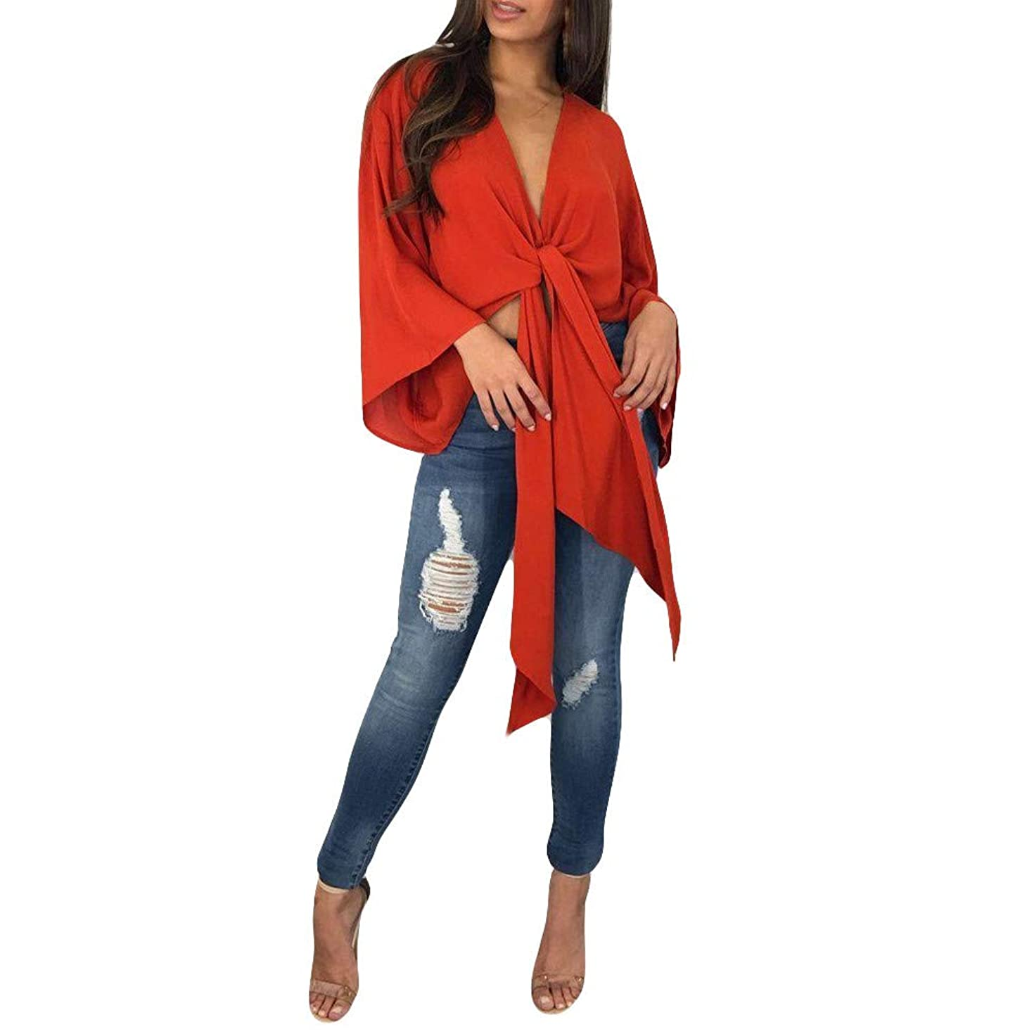 ZOMUSAR Womens Long Bell Sleeve Open Top Tops Blouse Tie Knot Bow Crop Shrug Cardigan