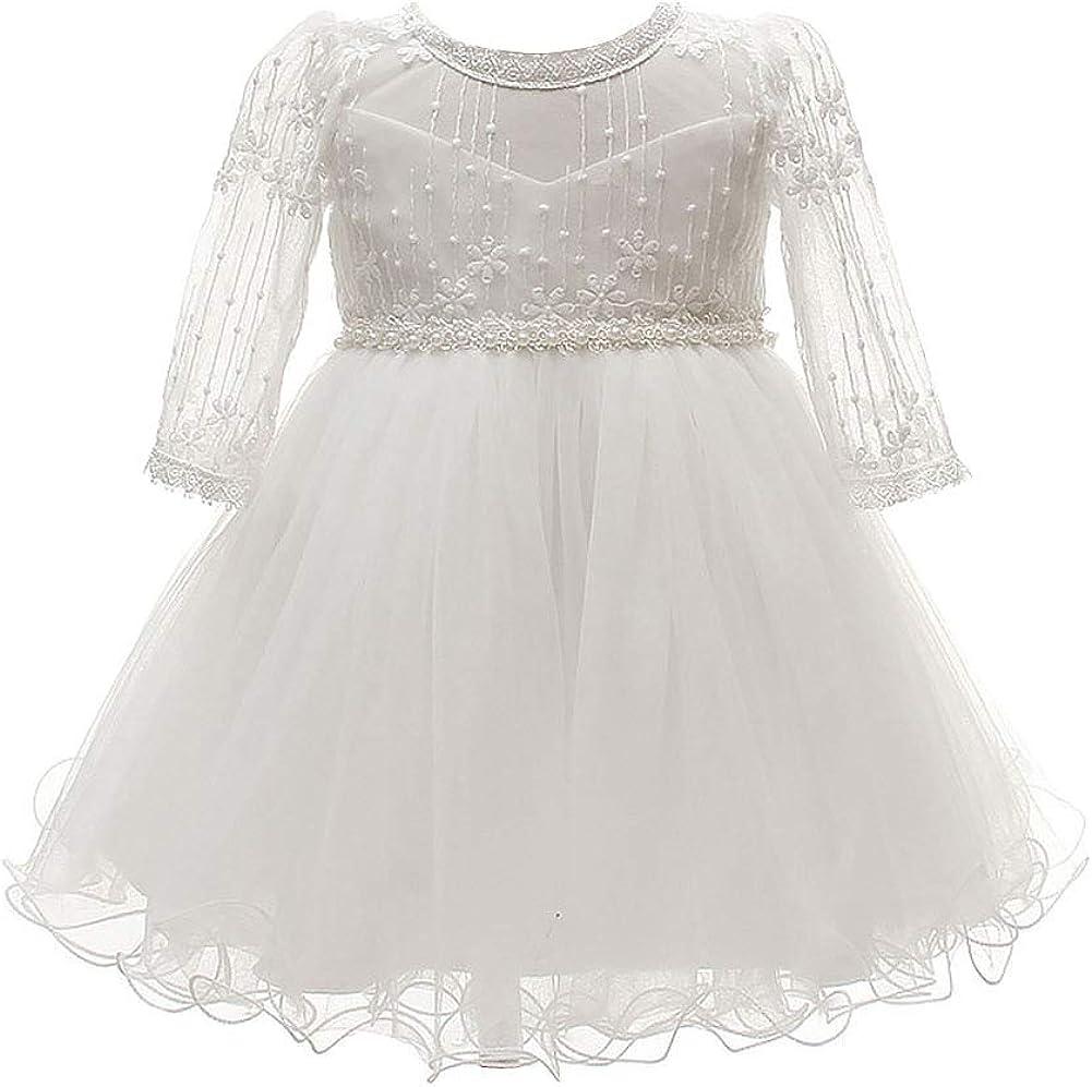 Happy Cherry Super special price Baby Girls Long Dress Tutu Tulle Sleeves Christenin Milwaukee Mall