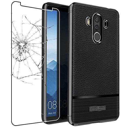 ebestStar - Cover Compatibile con Huawei Mate 10 PRO 2017 Custodia Protezione Silicone Gel TPU Morbida e Sottile con Pelle Design, Nero + Vetro Temperato [Apparecchio: 154.2 x 74.5 x 7.9mm, 6.0'']