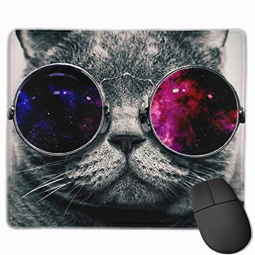 Galaxy Hipster Cat Wear Color Sunglasses Mouse Pad Custom, Non-Slip Rubber Gaming Mouse Mat with Stitched Edge, Premium Rectangle Laptop & Computer Mousepad 11.8 X 9.8 Inch