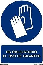 Normaluz RD20603 - Señal Adhesiva Es Obligatorio El Uso de Guantes Adhesivo de Vinilo 20X30 cm