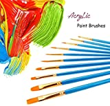 hook.s 10PCS Artist Paint Brushes Set, Pinceles de Nylon multifuncionales, Suministros de Pintura de Arte Azul Cielo para Pintura acrílica Pintura al óleo Pintura de Acuarela Pintura de la Cara