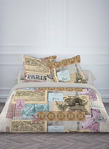 TODAY Enjoy Paris Vintage-Parure HC3 : Housse de Couette Tour Eiffel 220x240 + 2 Taies d'Oreiller 100% Coton, 57 Fils, Beige