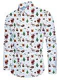 Idgreatim Camicia Natalizia per Ragazzi Stampata Babbo Natale Manica Lunga abbottonatura Aloha Cool Design Mens Party Wear Regalo di Natale Bianco