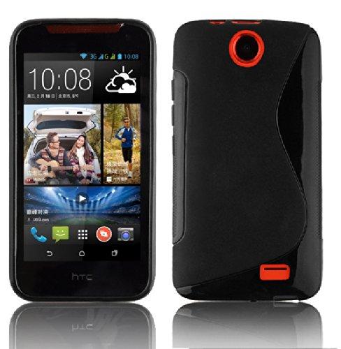 Cadorabo Hülle für HTC Desire 310 - Hülle in Oxid SCHWARZ – Handyhülle aus flexiblem TPU Silikon im S-Line Design - Silikonhülle Schutzhülle Soft Back Cover Case Bumper