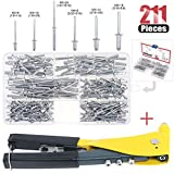 Hilitchi Professional Pop Rivet Gun with Assorted 210Pcs Aluminum Rivets Assortment Kit for Sheet Metal, Automotive, and Duct Work