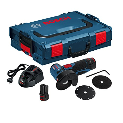 Bosch GWS 12V-76 Professional - Amoladora angular a batería con accesorios (19500 rpm, 12 V, discos, 2 baterías 2.5 Ah, cargador, L-BOXX)