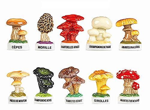 FABOLAND-Fèves Les champignons-DV2498-10 Sujets Porcelaine pour Épiphanie - Galette des Rois