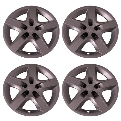 Set of 4 Silver 17 Inch Aftermarket Replacement Hubcaps with Screw On Retention System - Part Number: IWC435 17S