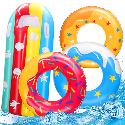 RichSmile 4 Packs Inflatable Donuts Pool Floats for Kids Swimming Rings for Kids Pool Tubes Toys Pool Float Ring Toys with Raft Lounger Beach Water Toys for Kids Adults Party Supplies