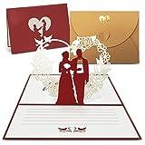 int!rend Pop Up Hochzeitskarte, Glückwunschkarte mit hochwertigem goldfarbenen Umschlag, Einladungskarte für Hochzeit, Jahrestag, Valentinstag, Wedding Card, Anniversary, 1er Pack