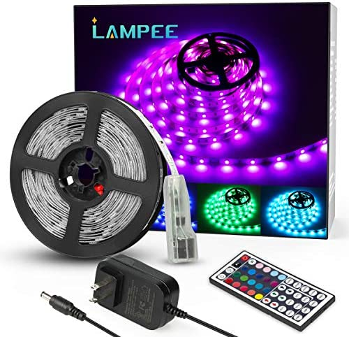 LED Strip Lights, Lampee 32.8ft 12V Flexible RGB Color Changing Tape Lights, 5050 SMD Rope Light Kit with Remote Control and 300 LEDs for Home, Kitchen, Bedroom, DIY Decoration