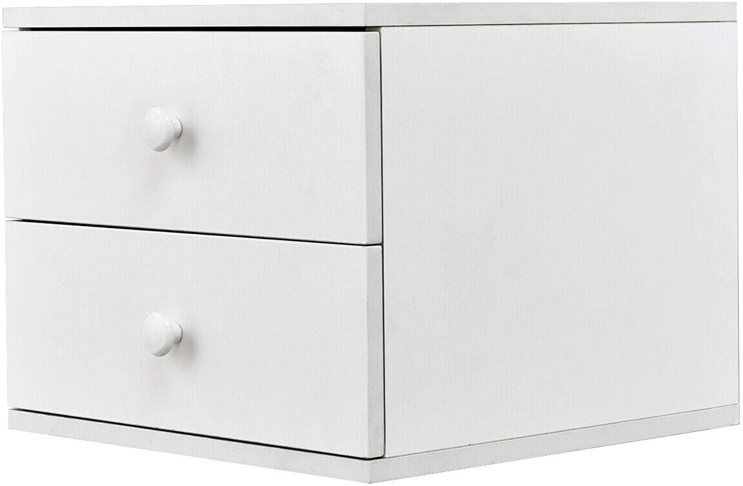 Tangkula Night Stand Contemporary Simple Design Wood Multi-Purpose Home Furniture Side End Table Storage Cabinet with 2 Drawers, White (1)