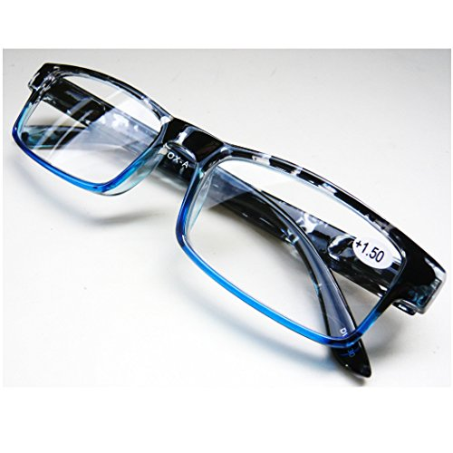 YGK78/ツートンカラーの半透明なフレームが個性的な老眼鏡 (BLACK/BLUE, 2.5)