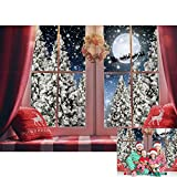 Allenjoy 7x5ft Winter Christmas Windowsill Backdrop Window Wreath Pillow Moon Night Reindeer Santa Snowy Forest Photography Background for Xmas Holiday Party Decor Banner Portrait Photo Booth Props