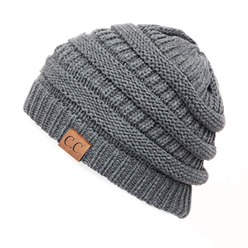 Hatsandscarf C.C Exclusives Cable Knit Beanie - Thick, Soft & Warm Chunky Beanie Hats (Dk. Mel Grey)