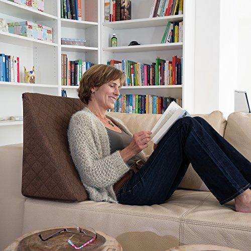 Sabeatex® Rückenkissen, Keilkissen für Couch und Sofa, Lesekissen für bequemes Sitzen. 5 Unifarben für trendiges Wohndesign. Louge-oder Palettenkissen Größe 60 cm x 50 cm x 30 cm (braun)