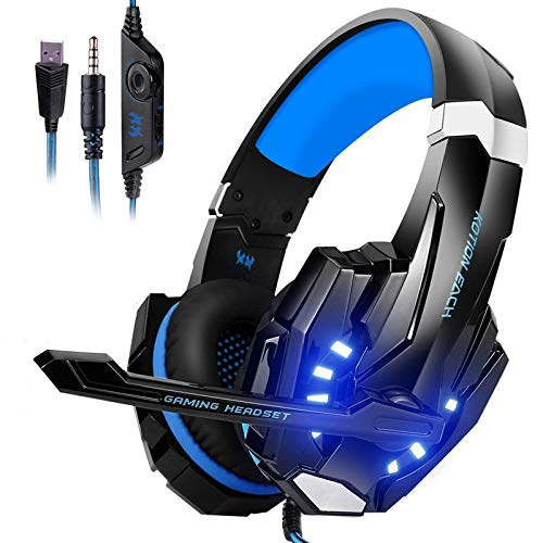Auriculares Gaming PS4, Galopar Cascos Gaming, Premium Stereo con Microfono Gaming Headset con 3.5mm Jack para PC/Xbox One/Switch - con Gancho-Azul