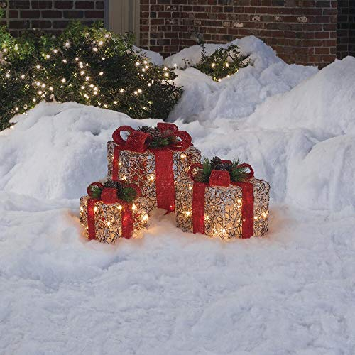 Rustic ICY Rattan 3pc Lighted Gift Boxes Sculpture Outdoor Christmas Yard Decor Holiday Lawn Display Seasonal Winter