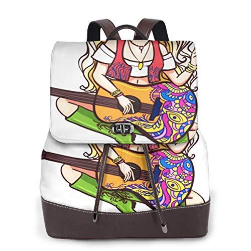 SGSKJ Rucksack Damen Hippie Mädchen, das Gitarren Ornamental spielt, Leder Rucksack Damen 13 Inch Laptop Rucksack Frauen Leder Schultasche Casual Daypack Schulrucksäcke Tasche Schulranzen